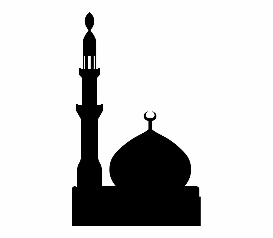 Mosque clipart minaret mosque. Muslim islam silhouette black