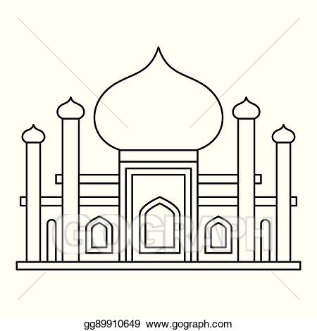 Mosque clipart outline. Eps illustration icon in