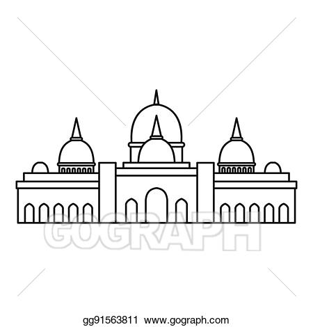 Sheikh zayed abu dhabi. Mosque clipart outline