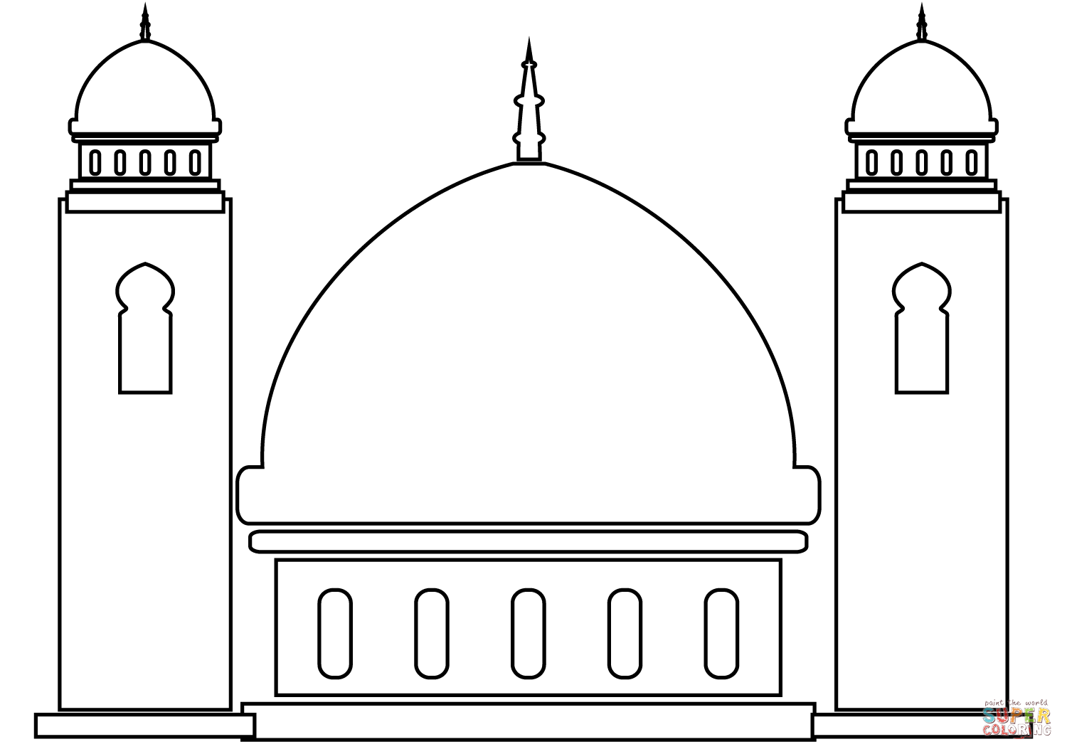 Coloring page free pages. Mosque clipart printable