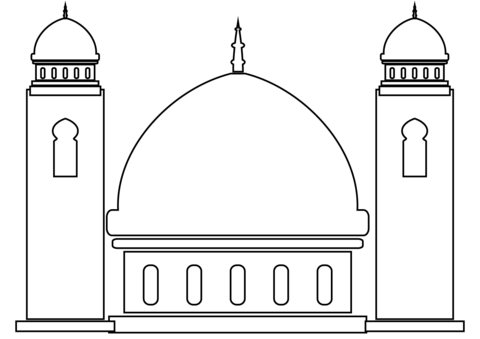Mosque clipart printable. Coloring page free pages