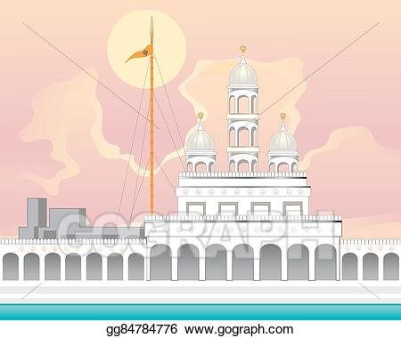 Vector illustration gurdwara with. Mosque clipart sikh temple