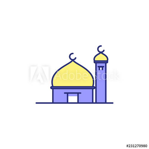 Mosque clipart small mosque. Simple blue in rounded