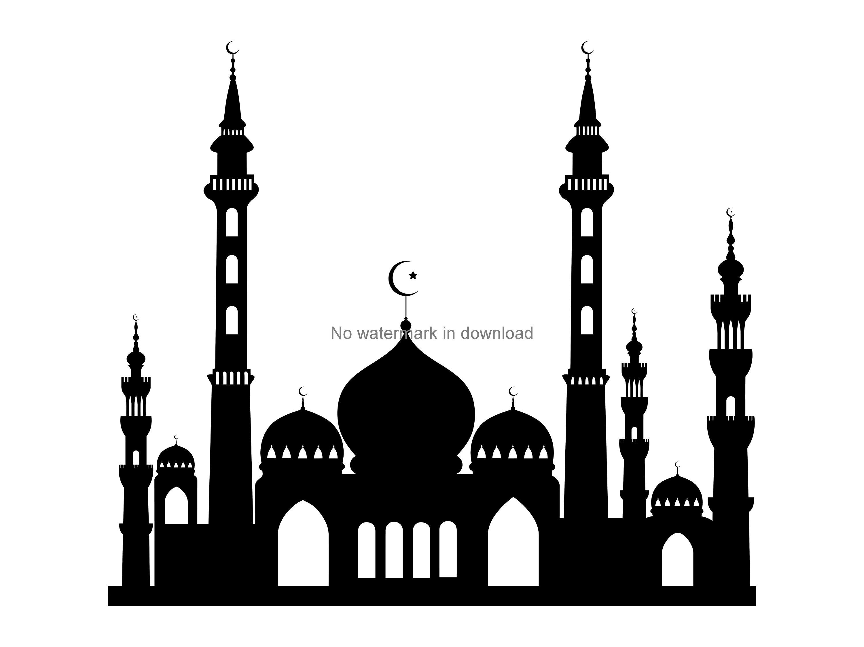 Islam muslim religion silhouette. Mosque clipart svg
