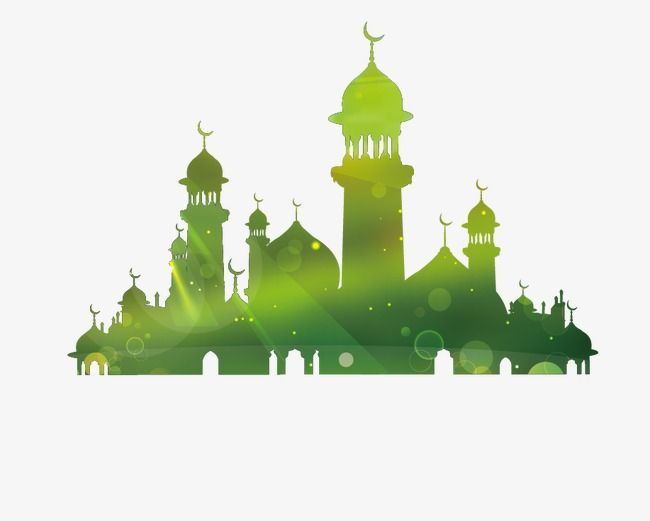 Mosque clipart temple. Silhouette green png and