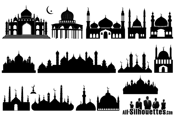 Mosque clipart vektor. Islamic silhouette vector illustration