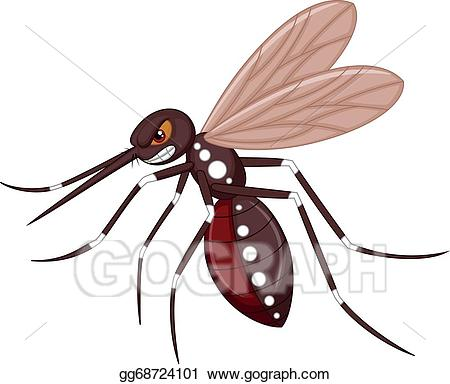 Mosquito clipart angry. Vector cartoon