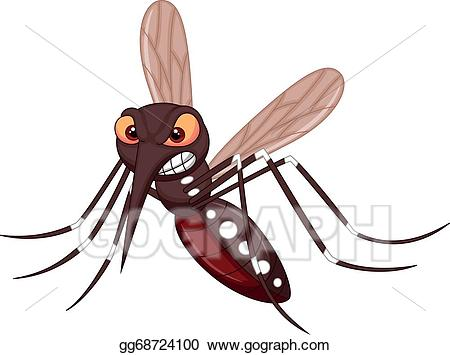 Vector cartoon . Mosquito clipart angry