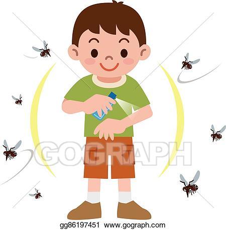 Vector art boy to. Mosquito clipart bug repellent