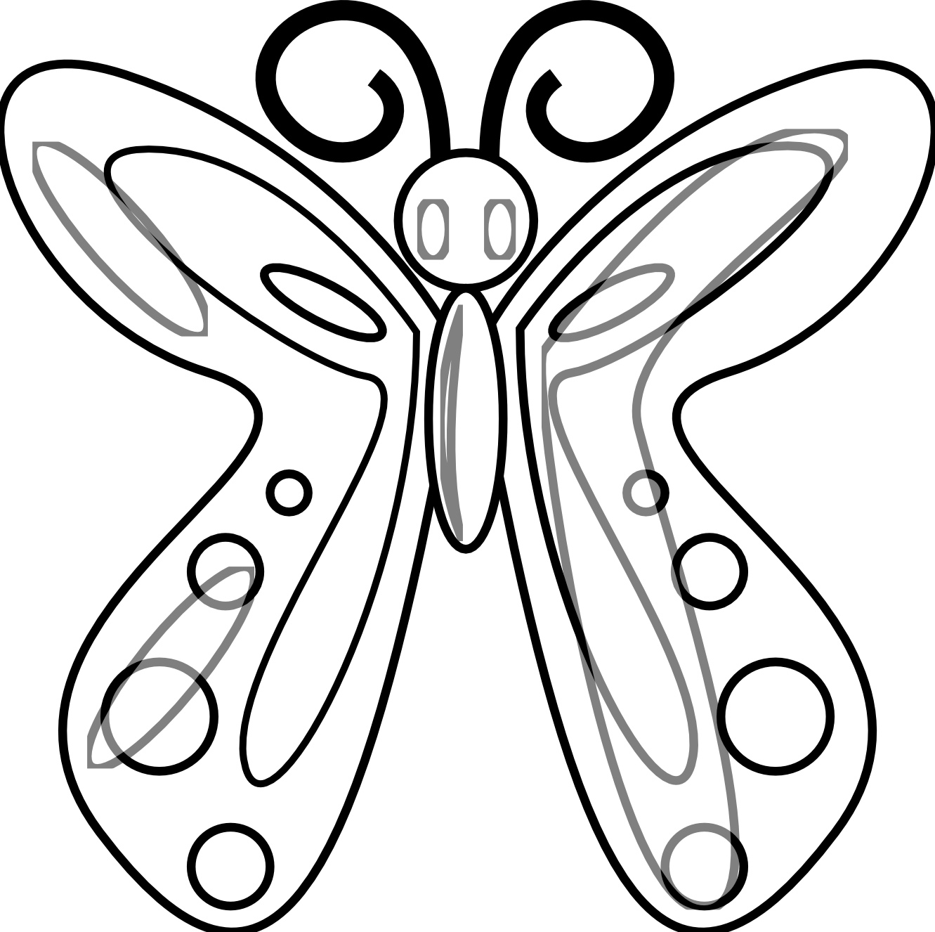 Moth clipart black and white. Butterfly line panda free