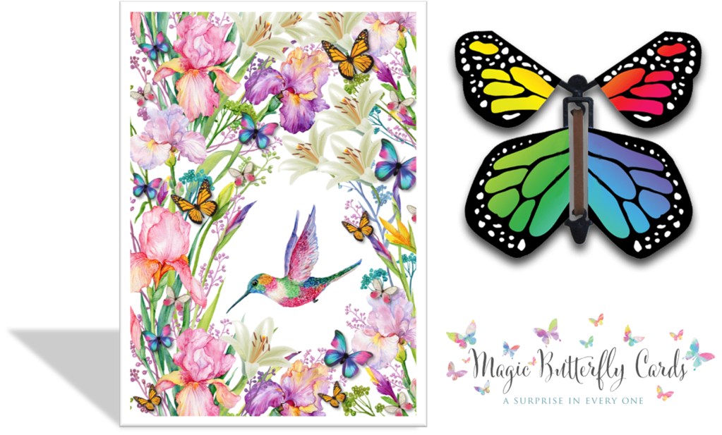 Moth clipart garden. Hummingbird magic butterfly card