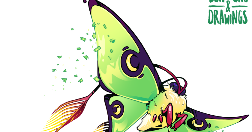 Dungeons and drawings . Moth clipart luna moth