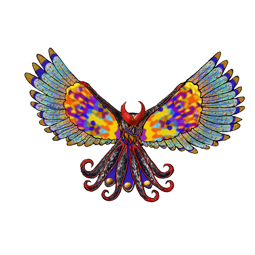 Moth clipart psychedelic. Owl by indie on