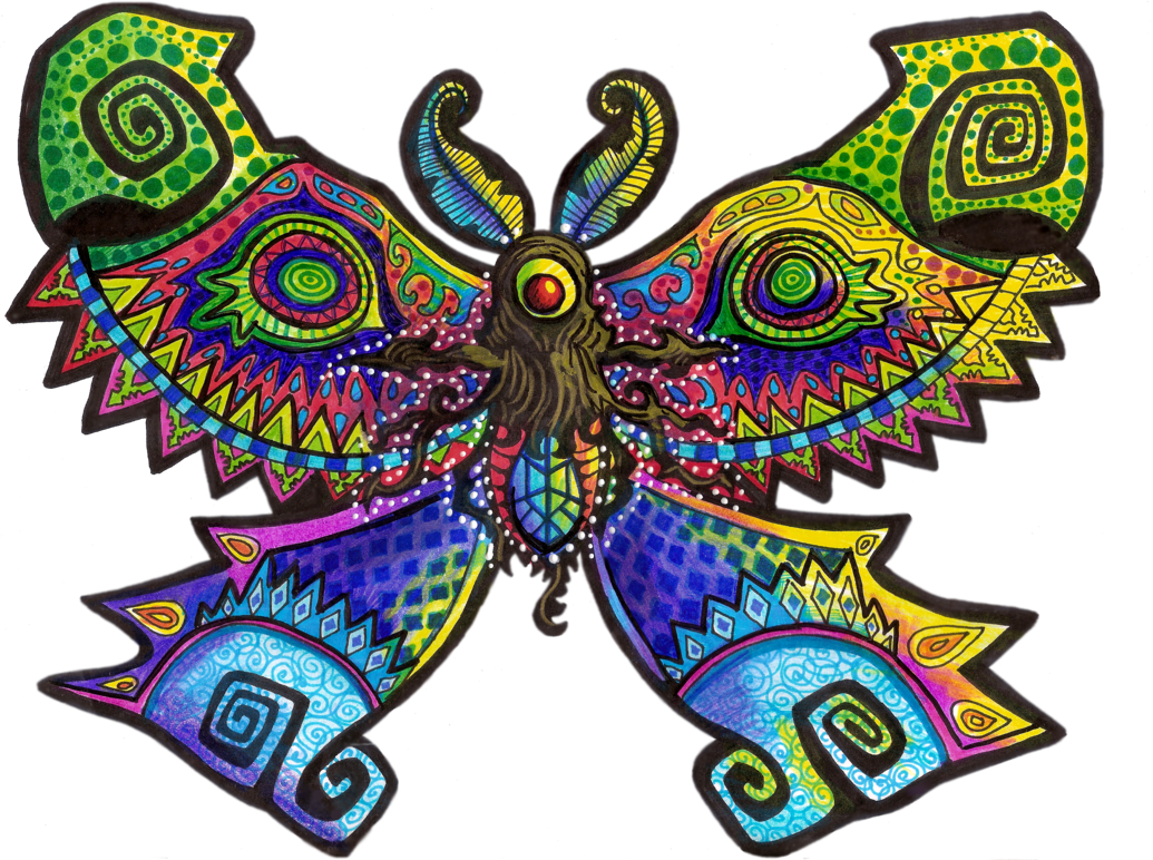 Mothula wind waker collab. Moth clipart psychedelic
