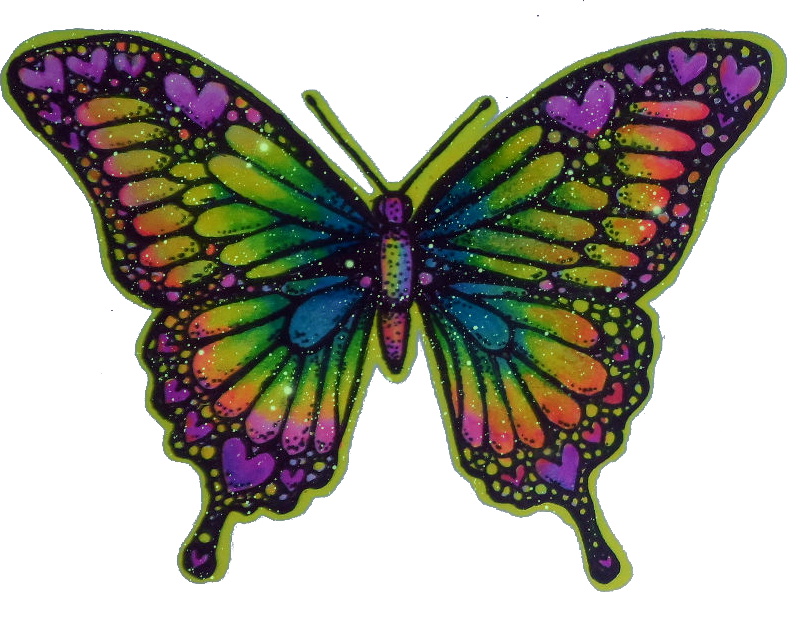 Moth clipart psychedelic. Heart butterfly hippy trippy