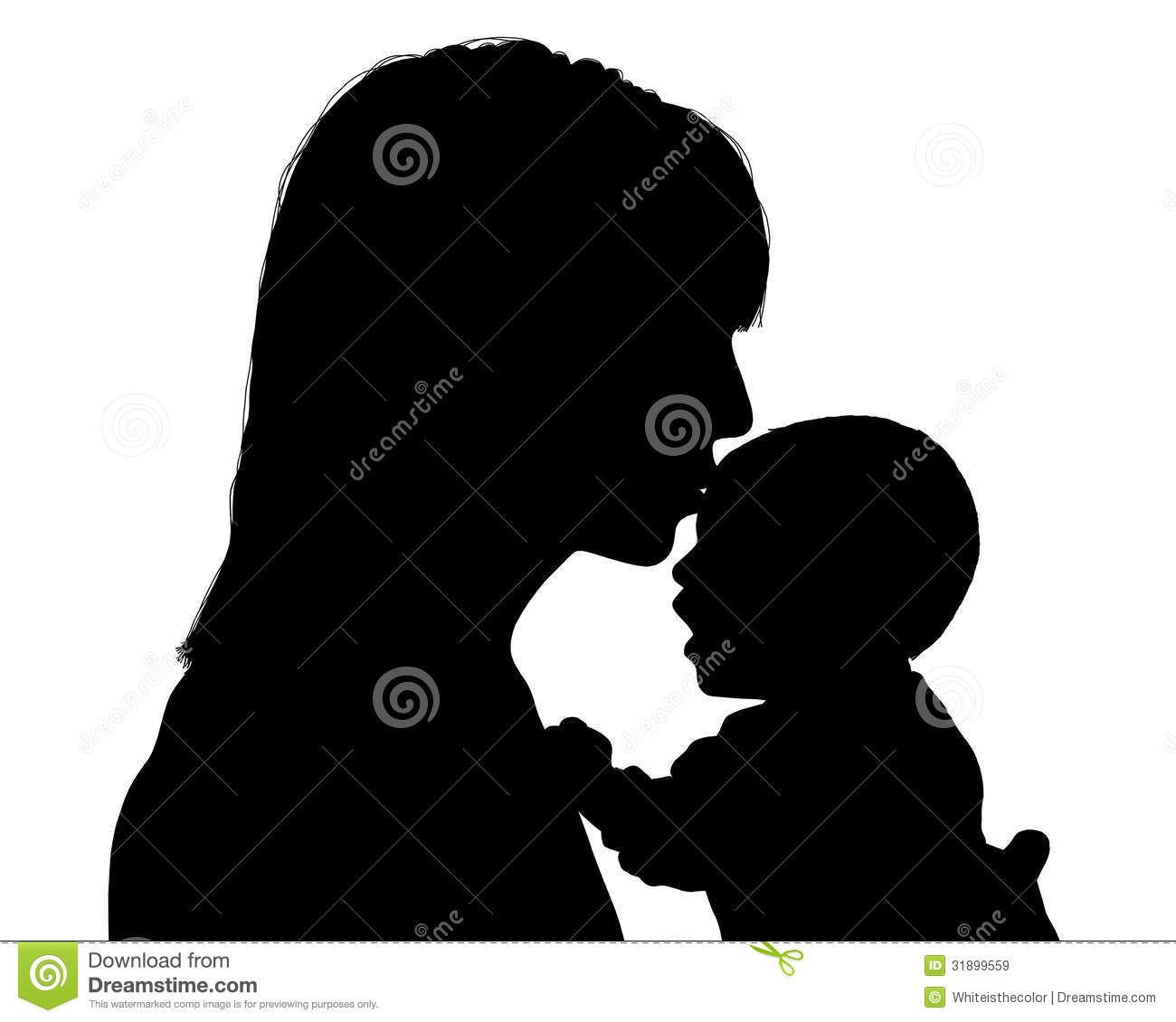 Mother kissing her child. Young clipart newborn baby