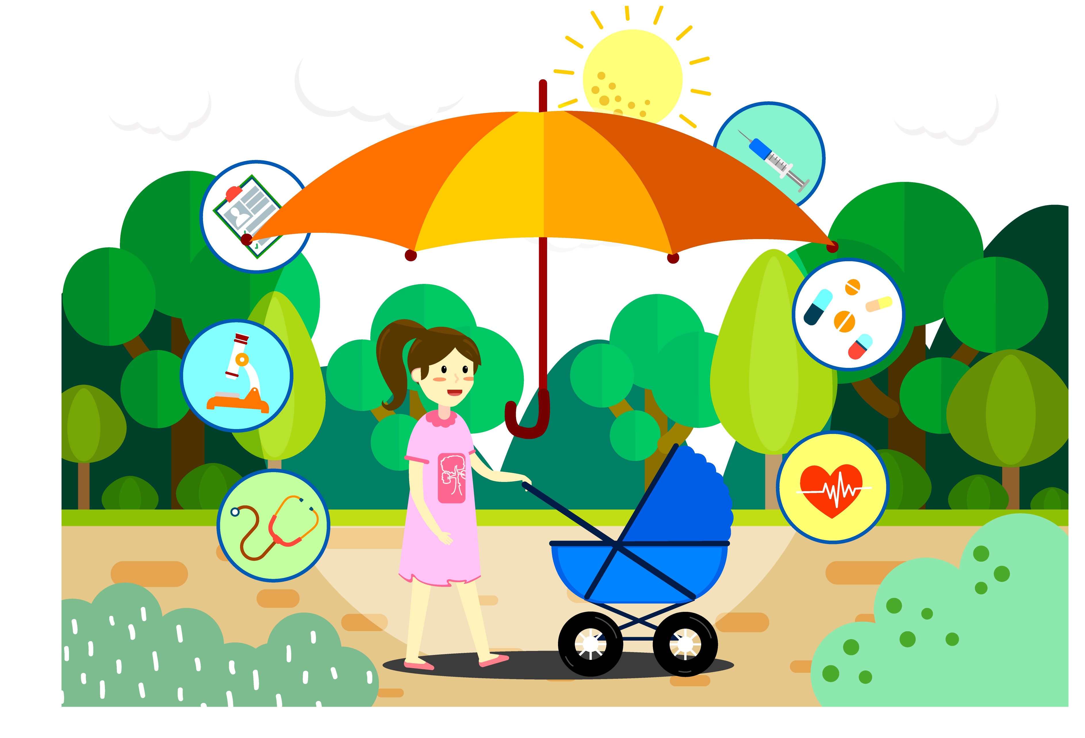 Mother clipart child care. Illustration mom push doll