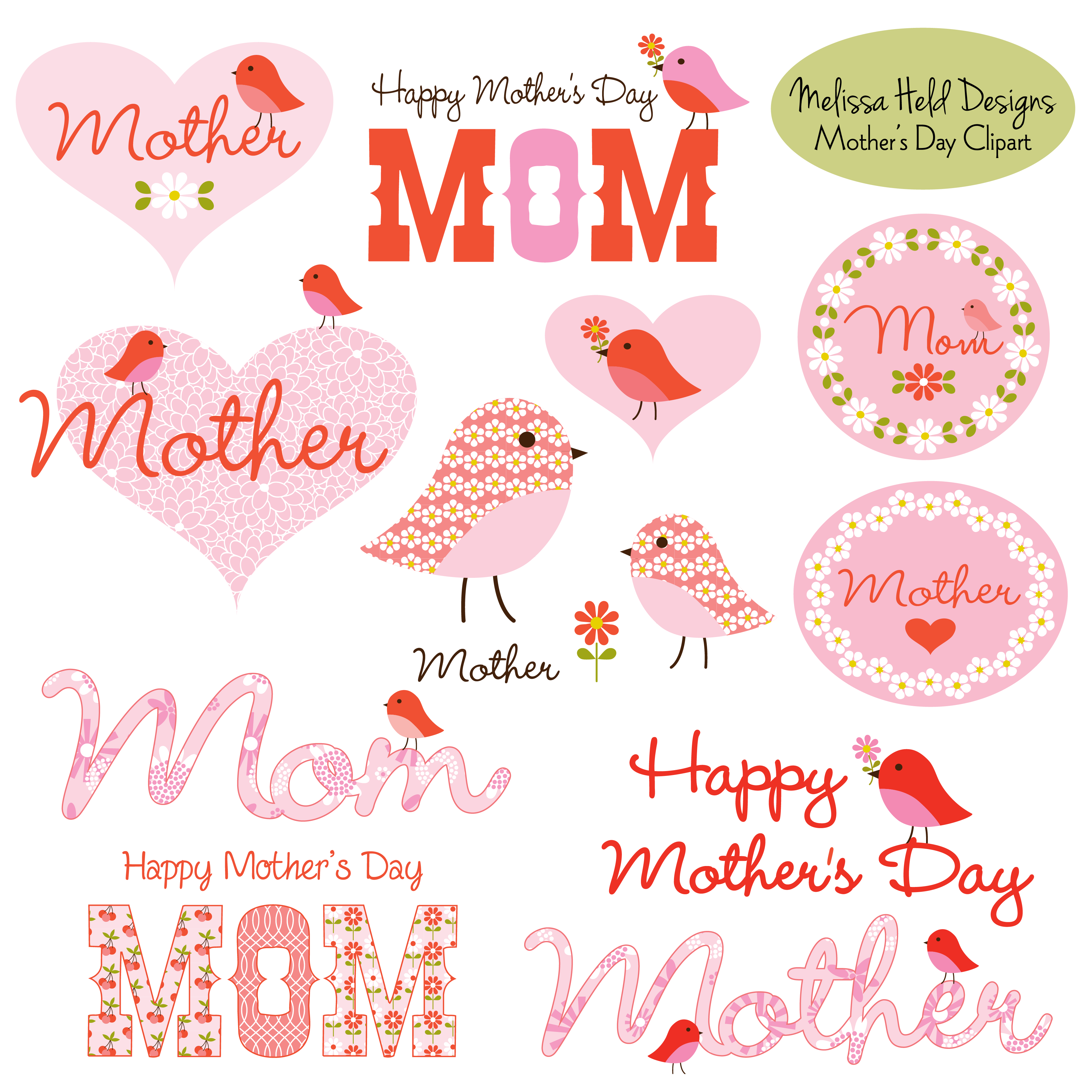 Mother clipart cute. S day with birds