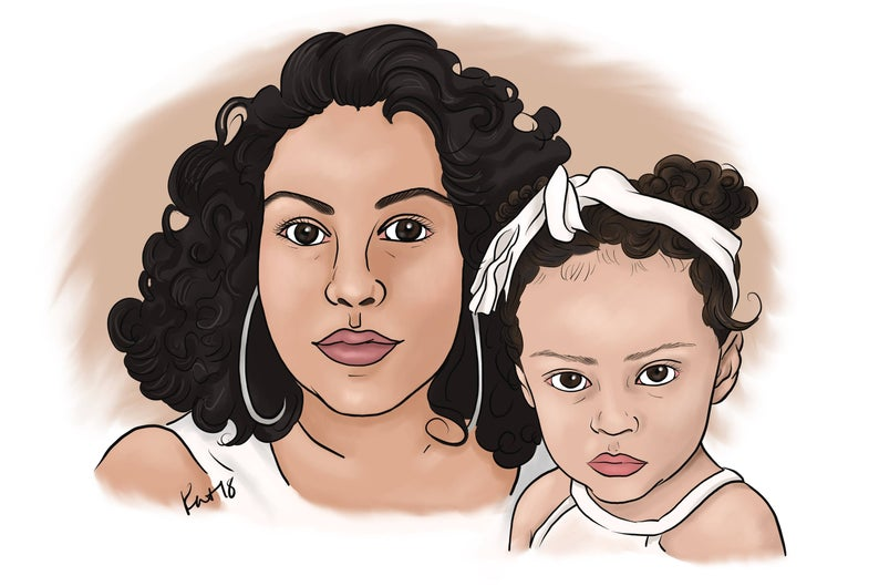 Daughter from photo drawing. Mother clipart girl portrait