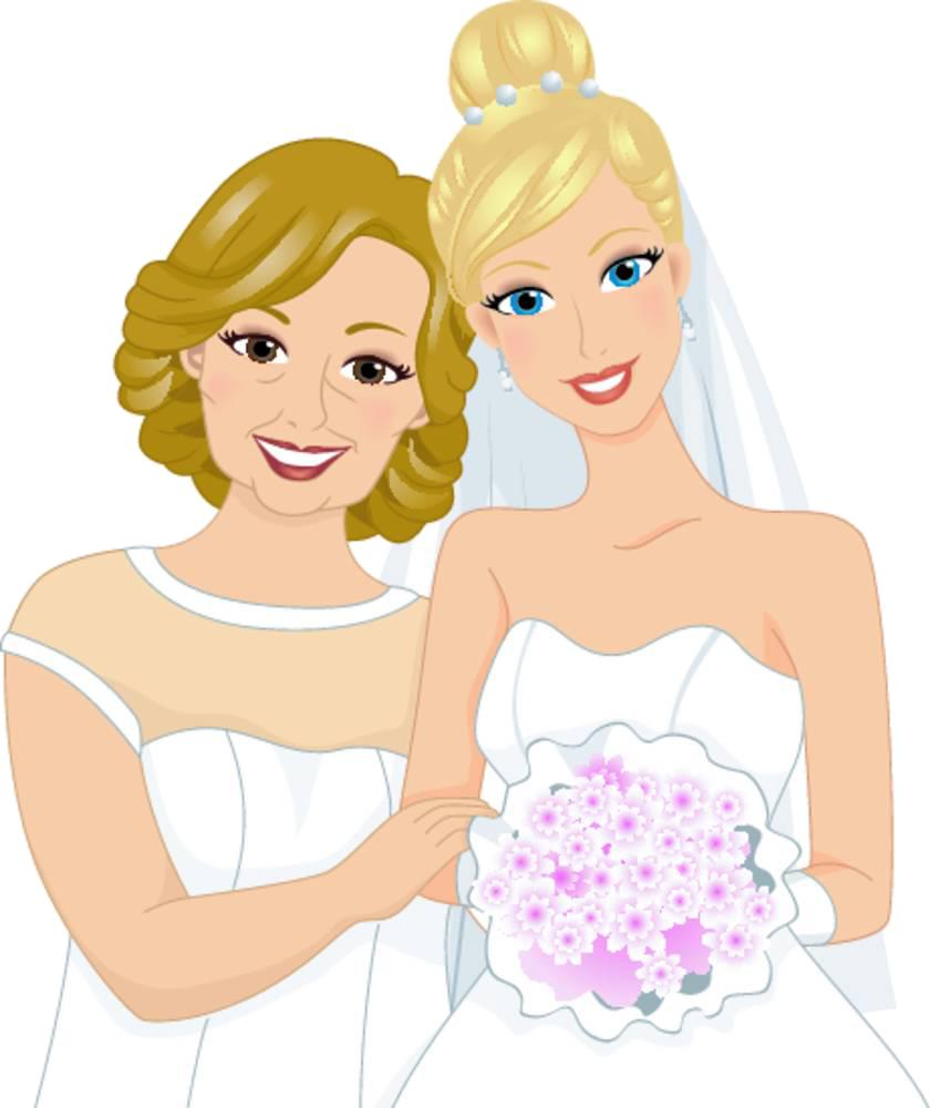 Mother clipart girl portrait. Bridegroom clip art bride