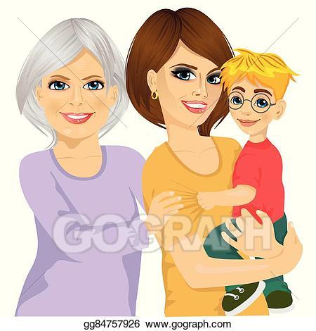 Mother clipart girl portrait. Vector stock happy grandma