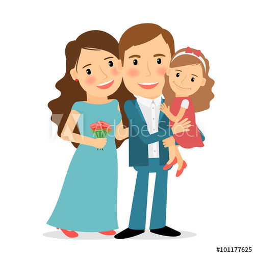 Mother clipart girl portrait. Happy family mom dad