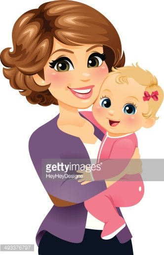 Mom holding her baby. Mother clipart girl portrait