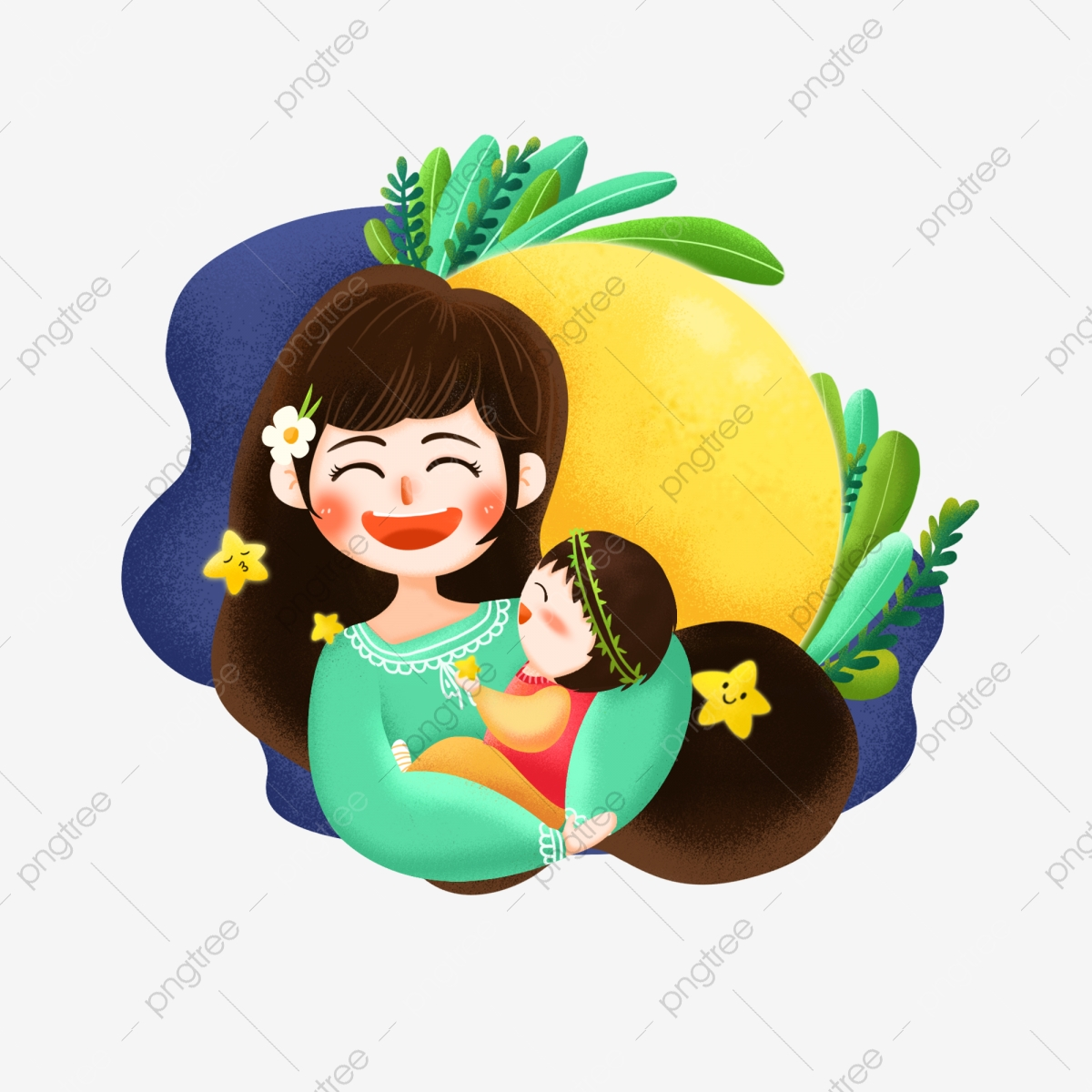 Mom child interaction character. Mother clipart good night