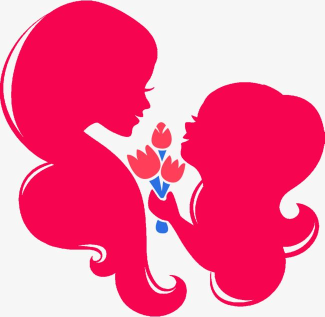 Mother clipart mather. Red and child silhouette