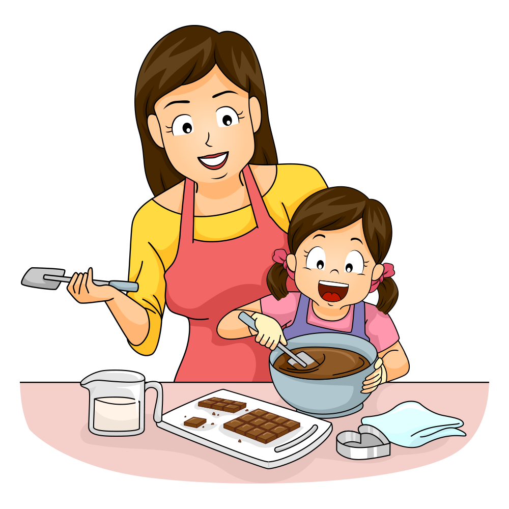 Cooking baking clip art. Mother clipart mother cooks food