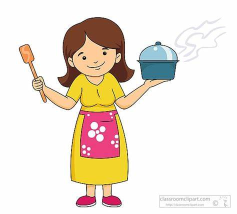 Cooking drawing at paintingvalley. Mother clipart mother cooks food