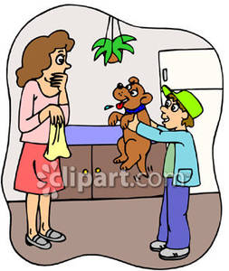 A boy bringing home. Surprise clipart mother