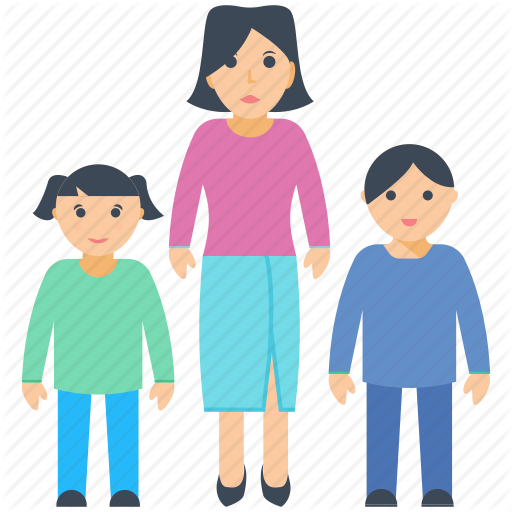 by prosymbols. Mother clipart single parent family