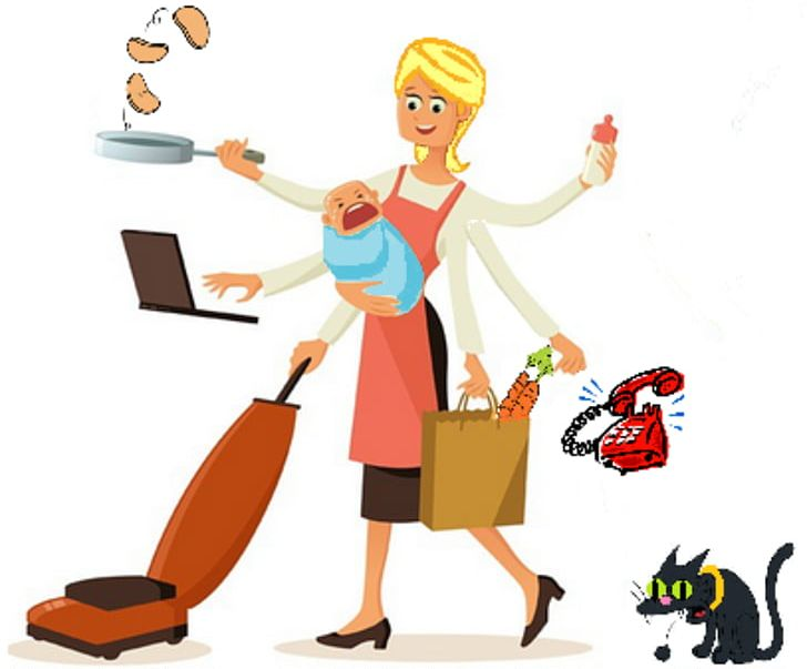 Housewife stay dad woman. Mother clipart work at home