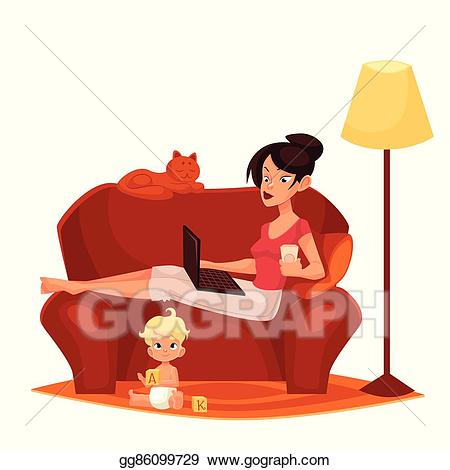 Mother clipart work at home. Vector stock young is