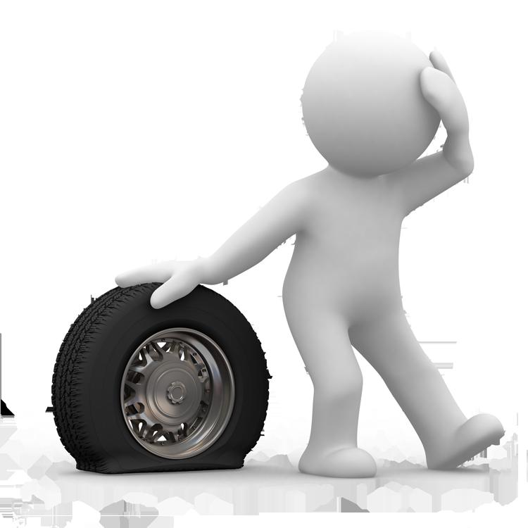 Motivation clipart 3d man.  d flat tyre