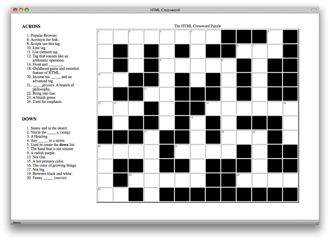 Puzzle maker html code. Motivation clipart crossword