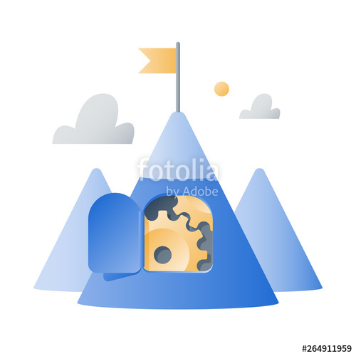 Motivation clipart long term goal. Mountain with cogwheels growth
