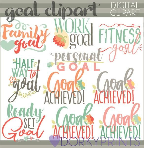 Setting goals planner stickers. Motivation clipart personal goal