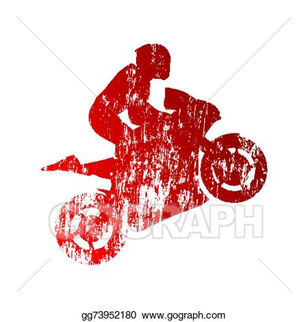 Motorcycle clipart abstract. Vector art grungy rider