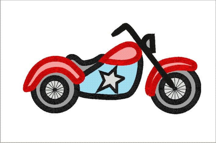 Motorbike applique machine embroidery. Motorcycle clipart baby