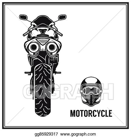 Motorcycle clipart back. Vector stock view elements