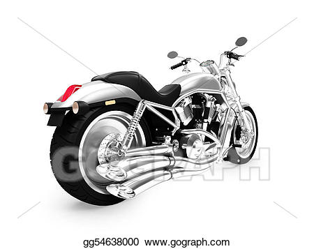 Stock illustration isolated view. Motorcycle clipart back