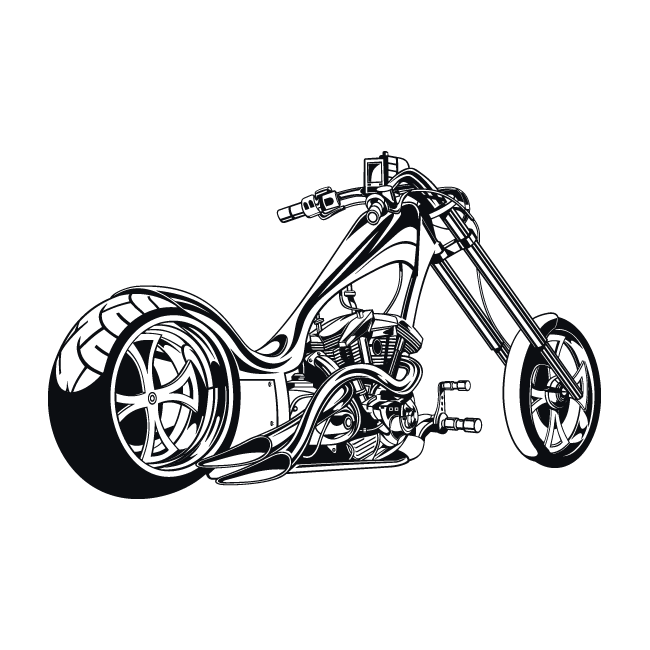 Motorcycle clipart bagger. Chopper drawing at getdrawings