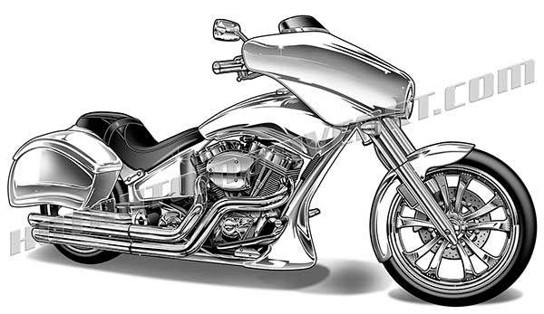 Harley custom motorctycle artwork. Motorcycle clipart bagger