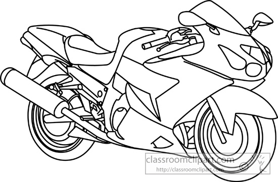 Motorcycle clipart black and white. Cartoon