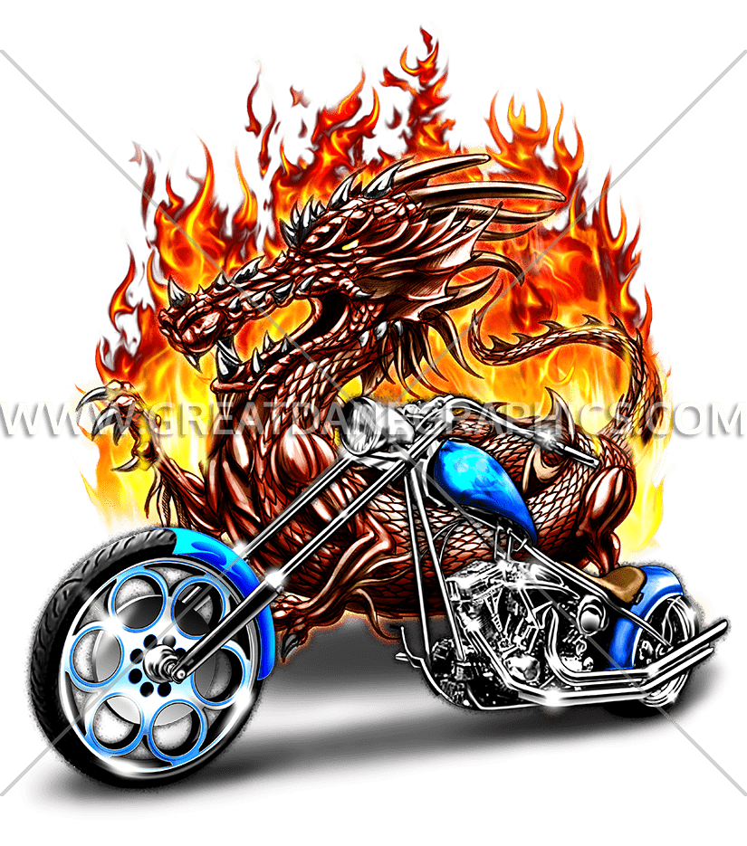 Dragon production ready artwork. Motorcycle clipart cartoon character