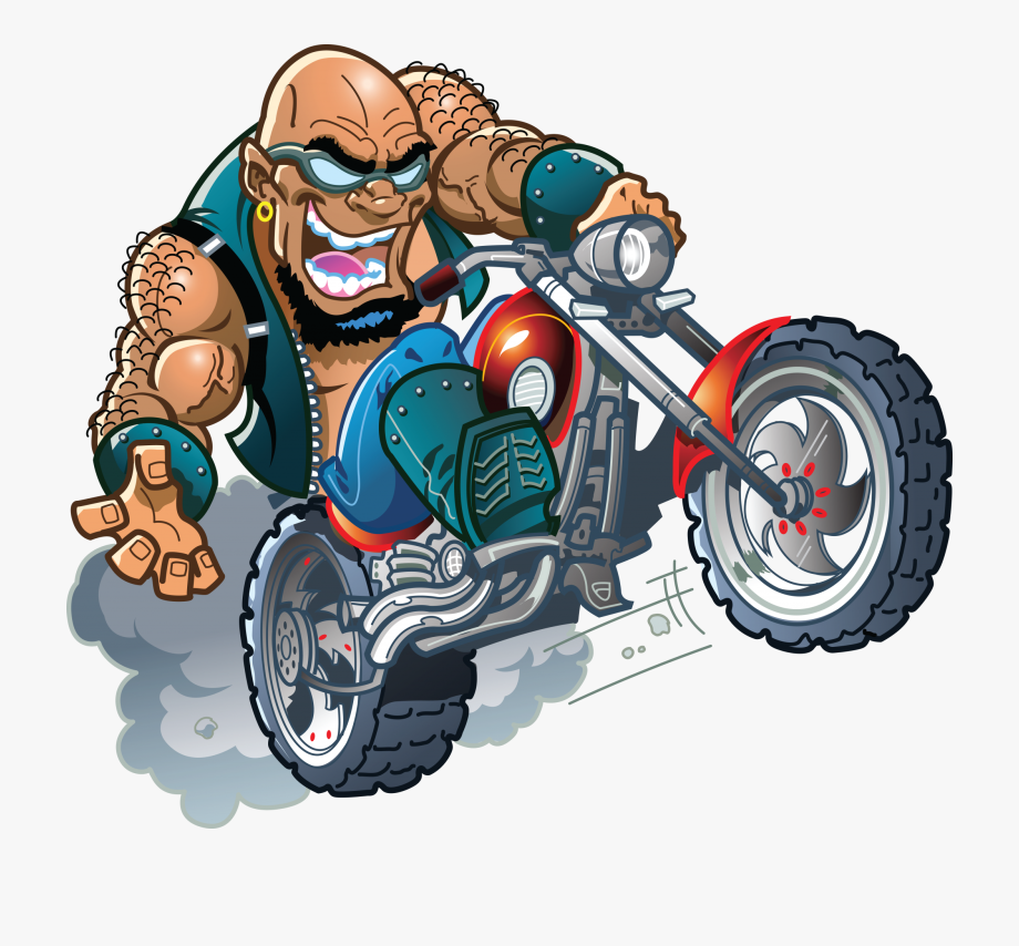 Motorcycle clipart cartoon character. Banner royalty free library