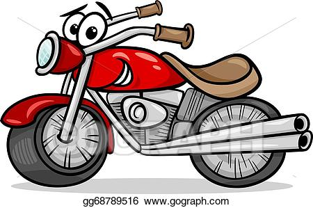 Vector illustration bike or. Motorcycle clipart cartoon character