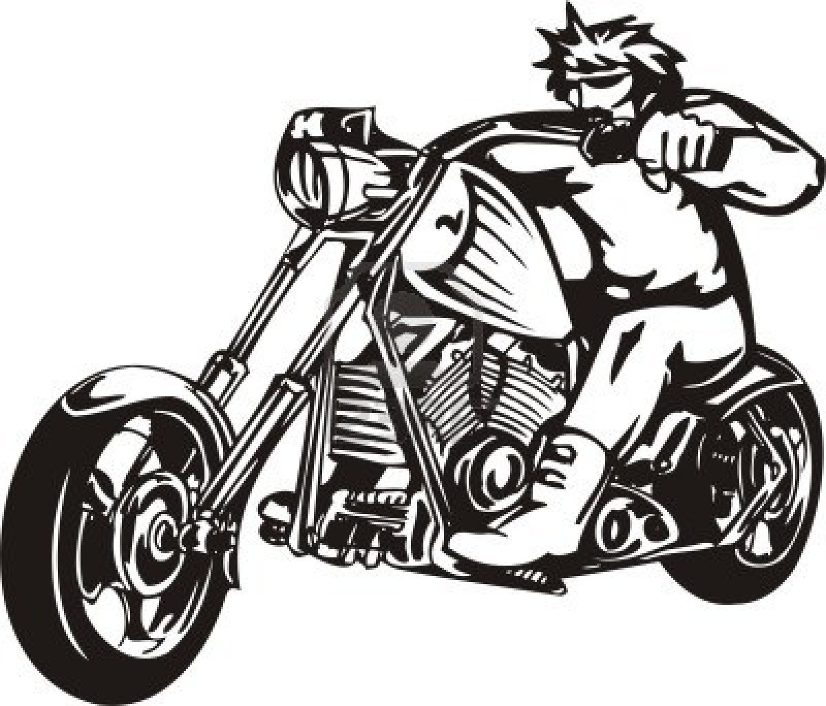 Motorcycle clipart cool motorcycle. Black and white harley